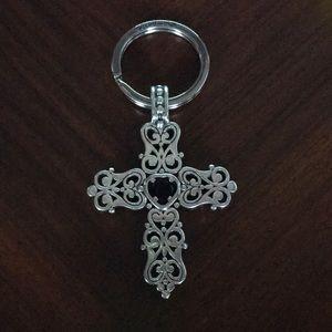 Brighton Cross Keychain w/ Garnet